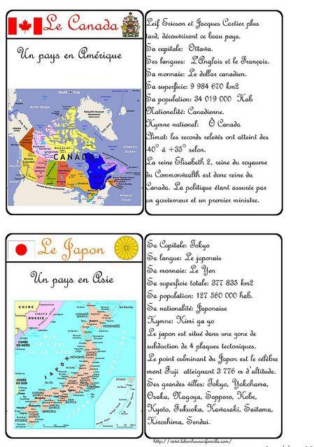 Cartes d'identité - pays Canada et Japon