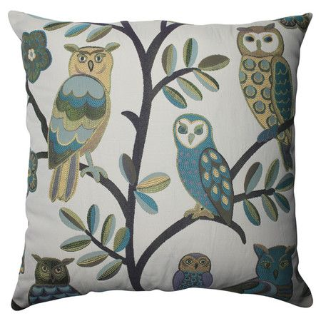 Pillow with a perching owls motif and contrasting color back.  Product: PillowConstruction Material: Polyester c...