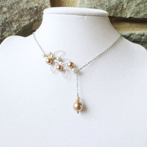 Pearl leaf lariat necklace statement necklace wedding for Jewelry for champagne wedding dress