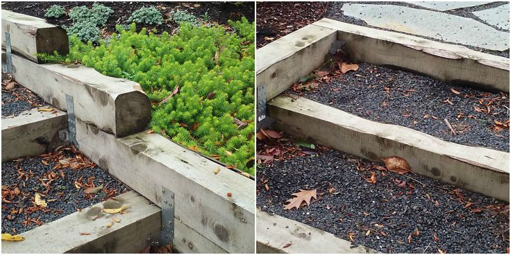 Landscape Timbers Portland Or : Steps and retaining wall built with juniper timbers great patina