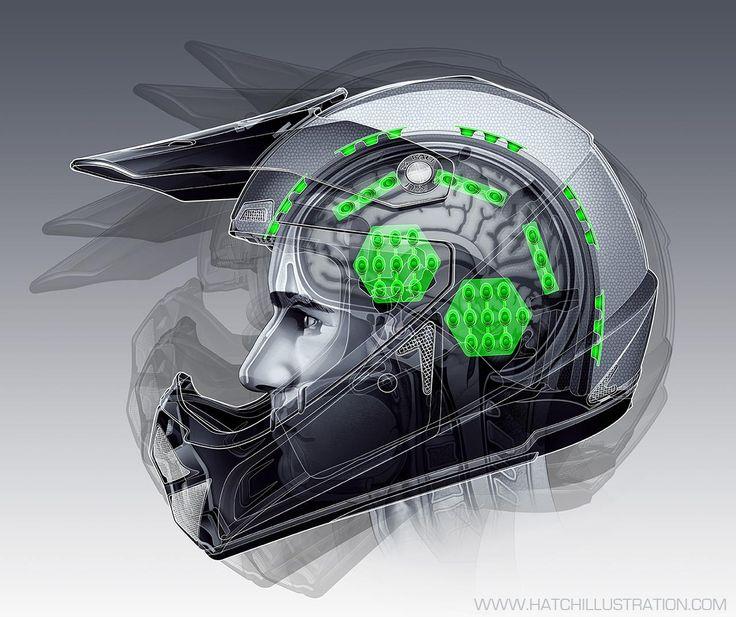 "Kali Helmet Technical Illustration Digital 25"" x 19"" @ 300dpi"