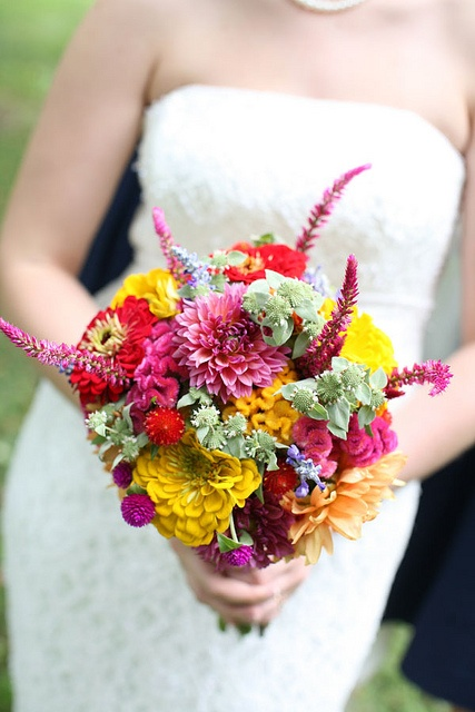 August bouquet by Local Color Flowers Baltimore, via Flickr  Local dahlias, zinnias, coxcomb, plume celosia, mountain mint and salvia.