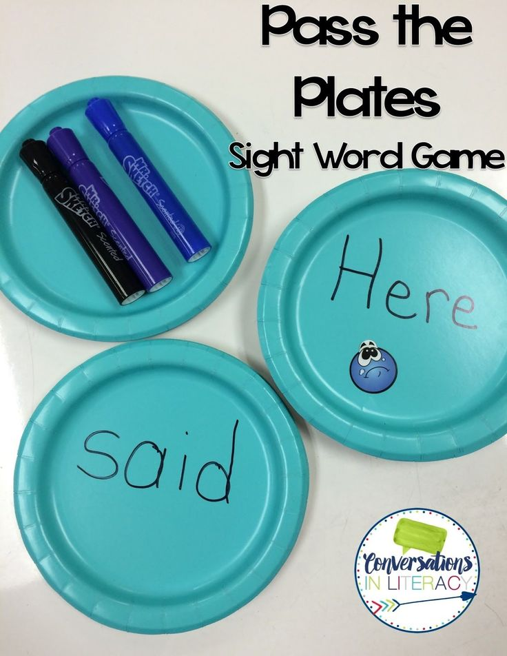 : Sight Word Games for Active Learners. Write sight words on a number of plates, play music and pass the plate, when the music stops all children turn their plate over and read the word, all children that cannot read the word are out