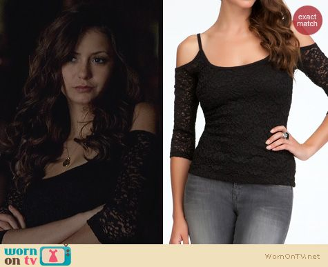 Katherine's black lace top with cutout shoulders on The Vampire Diaries. Outfit Details: http://wornontv.net/23880 #TheVampireDiaries #TVD #Bebe