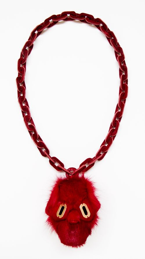 Noon Passama Necklace: Portrait # 8, 2013 Pendant part: antelope fur. Chain part: horse fur. Eyes: pink gold plated silver 9.2 x 9.4 x 8.1 c...