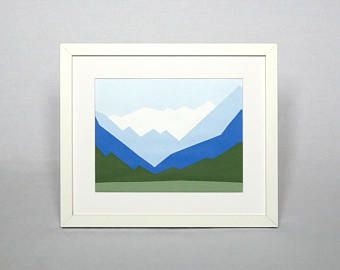"""Original mountain landscape painting of Lake Louise Acrylic on paper 7x9"""" Winter landscape wall art Canada mountain painting Clearance sale"""
