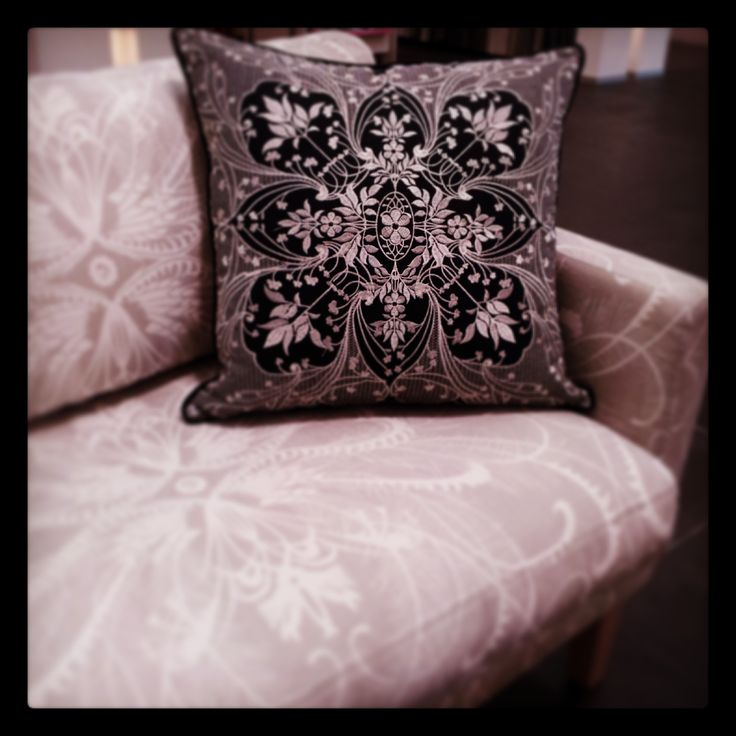 Catherine Martin by Mokum.  Cushion in Antique Lace colour Aniseed, on Feathers colour Linen. www.lahood.co.nz