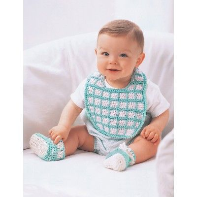 Bernat Crochet Baby Bib Pattern : Bib and Booties YarnInspirations Free Pattern With ...