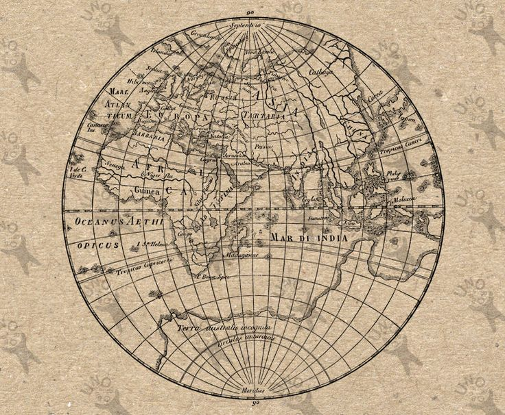 Antique Map of the World Eastern hemisphere Globe Instant Download image printable picture transfer decor prints iron on etc HQ 300dpi by UnoPrint on Etsy