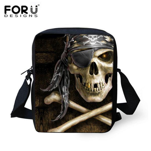 FORUDESIGNS Cool Punk Skull Shoulder Bags Famous Brand Designers Men Messenger Bags Men's Travel Bag Casual Male Crossbody Bag