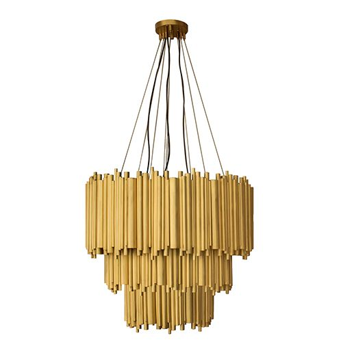 A suspension lamp inspired by art deco and music, through the dramatic pipe…