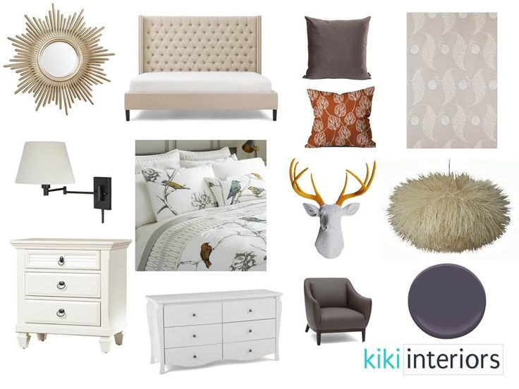 A master bedroom with some whimsy - deer head, fluffy light fixture, wall paper and a deep wall paint tone.  Interior decorating. e-decor. Home styling. Home decor. Home decoration