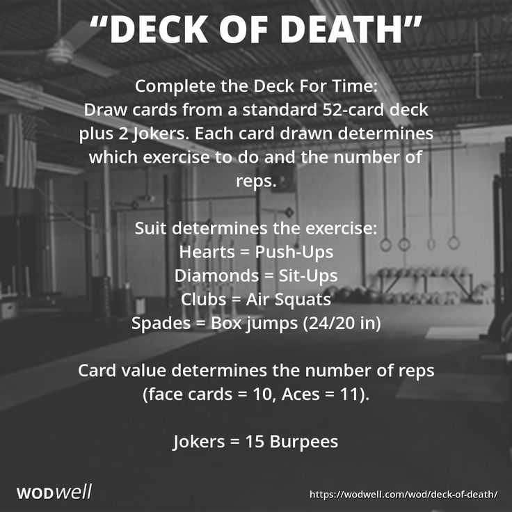 "The original source of this workout, also known as ""Deck of Cards,"" is unknown, but the oldest mention we found by a CrossFit affiliate was from November 27, 2008 by CrossFit Portland (Portland, OR) - who said they actually borrowed the workout from CrossFit South West (East Bunbury, AUS). Any 5 movements may be used. Select 5 movements that correspond to each of the 4 suits (Clubs, Diamonds, Hearts, Spades) plus Jokers in a standard 52-card deck of playing cards."
