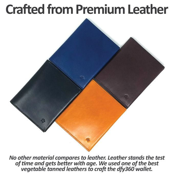 Premium Vegetable Tanned Leather, Strong Multi-Layer RFID Blocking,  Ultra-Slim Profile.