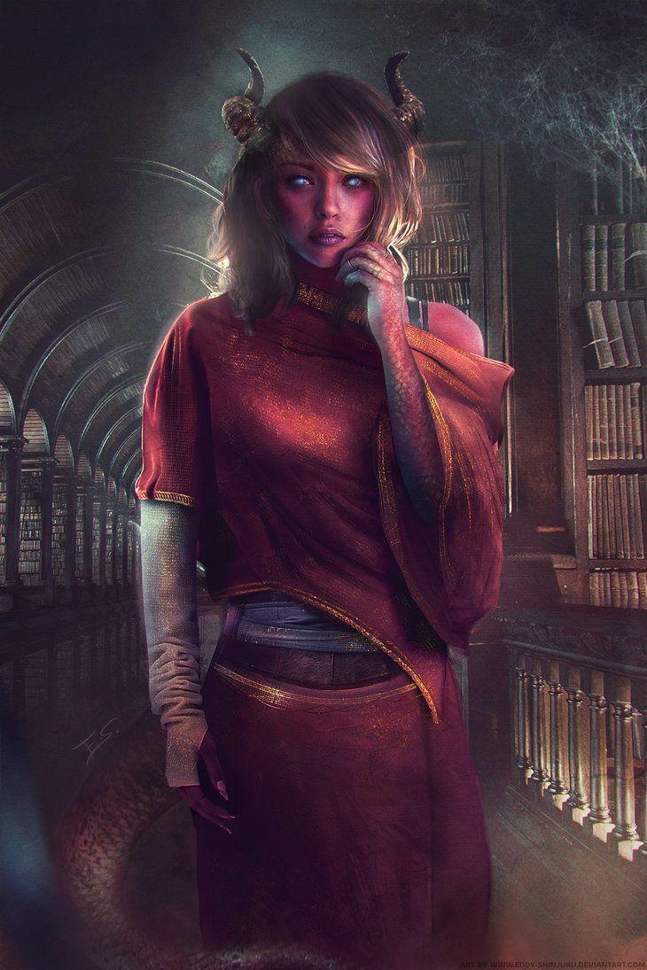 Elaraa (Demon/Tiefling Girl) by Eddy-Shinjuku.deviantart.com on @DeviantArt