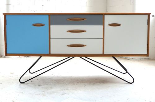 Small Bespoke Sideboard / TV Cabinet * Painted Upcycled Modern * Teak 60s 70s   eBay