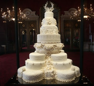 This is the cake from the Prince William and Kate Middleton wedding which took place on 29 April 2011 at Westminster Abbey in London.  This Royal Cake took 5 weeks to make!  It was an eight tiered fruitcake.  Here is more about the wedding, minus the cake: http://en.wikipedia.org/wiki/Wedding_of_Prince_William_of_Wales_and_Kate_Middleton