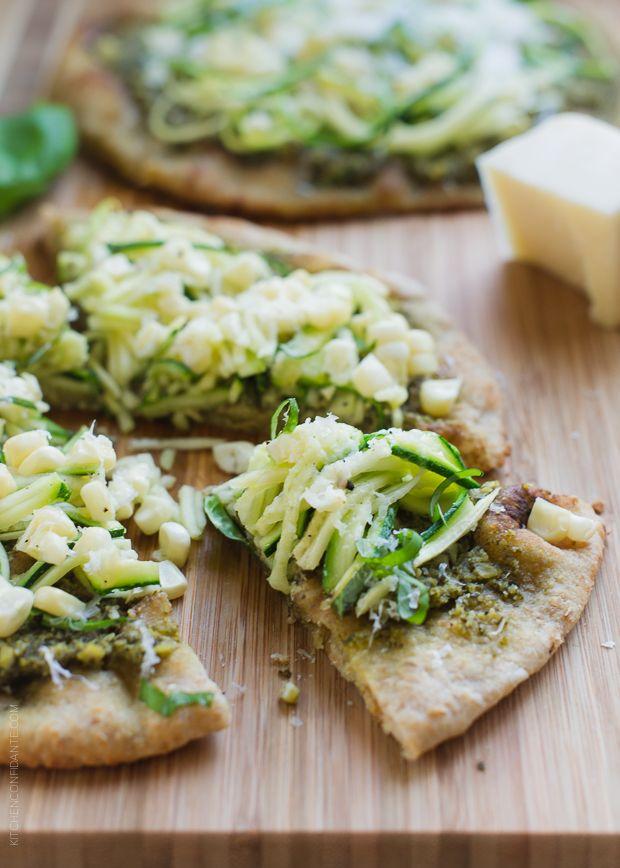 Zucchini, Corn and Pesto Flatbreads   www.kitchenconfidante.com   Summer on a flatbread.