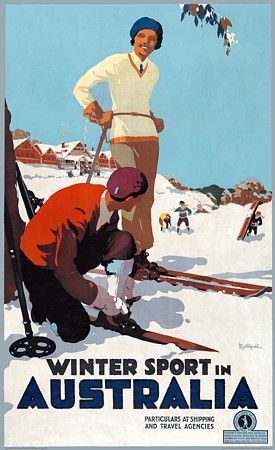Winter Sport in Australia Vintage skiing poster by James Northfield c.1930s www.vintagevenus.com.au/vintage/reprints/info/TV575.htm