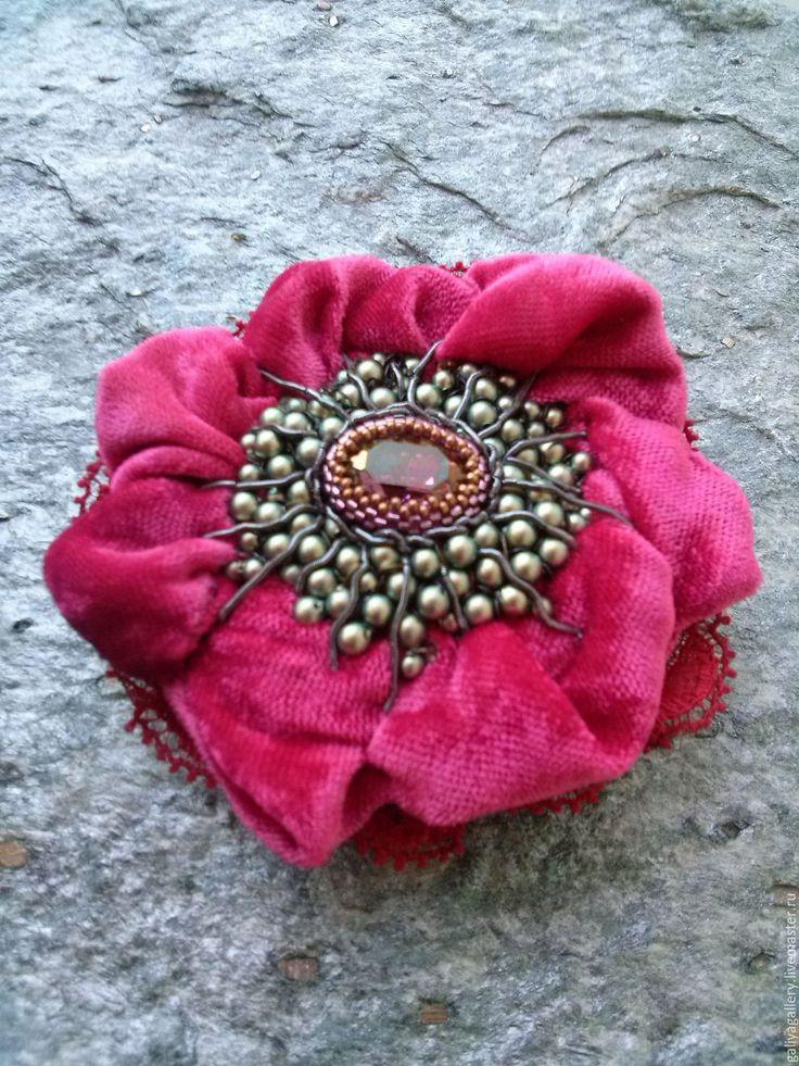 Купить RED  БРОШЬ КУЛОН - ярко-красный, брошь цветок, авторская ручная работа