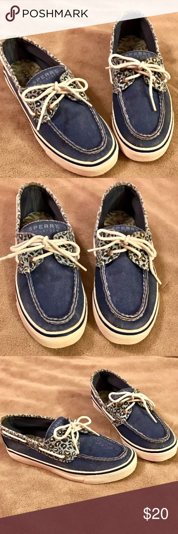 Blue Leopard Sperry Boat Shoes Blue Leopard Sperry Top-sider Boat Shoes Size 7.5! Still in good condition and has jean-looking material Sperry Top-Sider Shoes Flats & Loafers