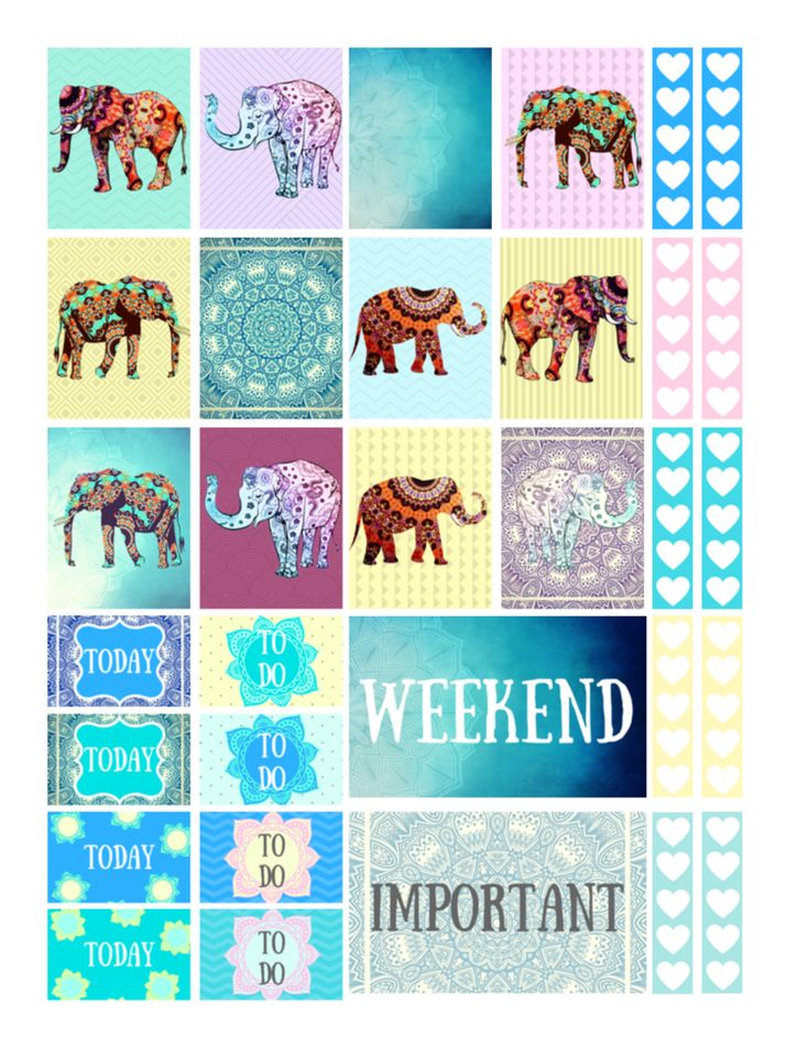 Free printable mandala elephants planner stickers