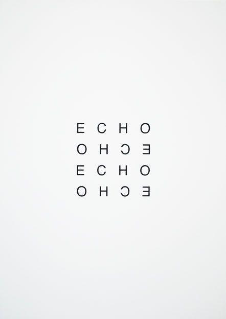 Echo, black white | typography / graphic design: Heinz Gappmayr @ visual poetry |
