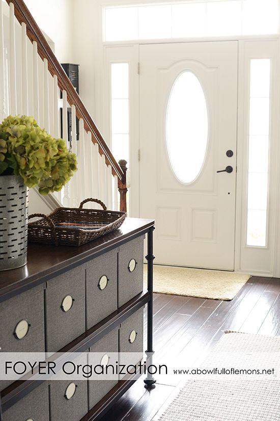 Foyer Organization Tips via A Bowl Full of Lemons #homeorganization #foyer #entryway #organized