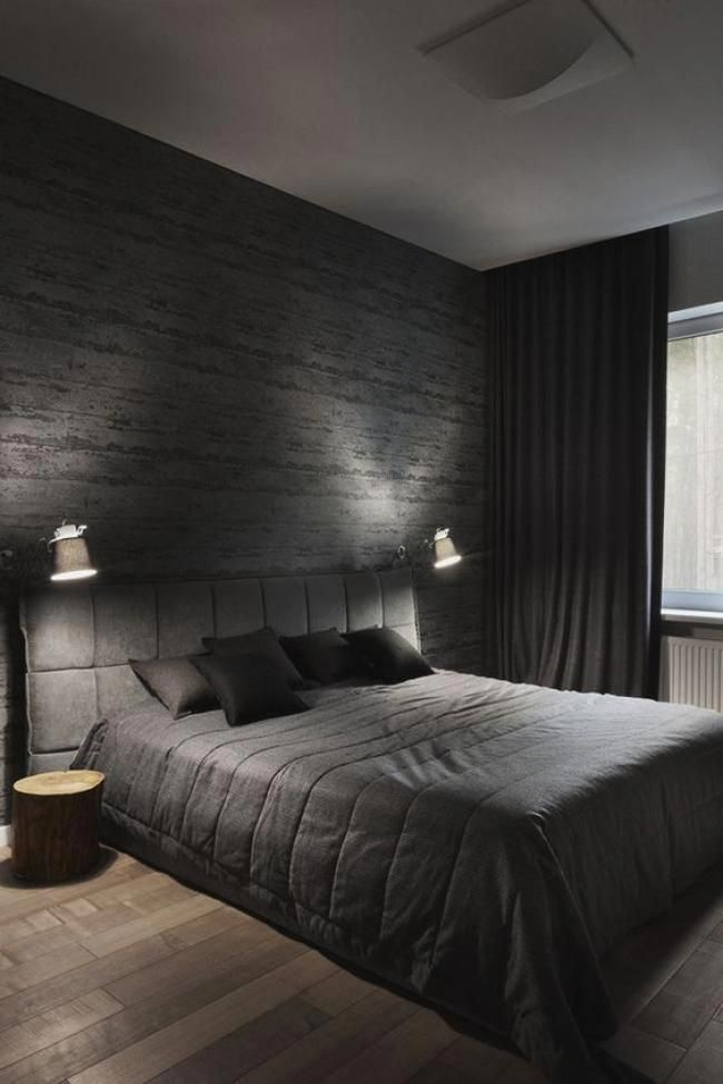 Cool Masculine Bedroom For Mens Black Color And Gray Modern