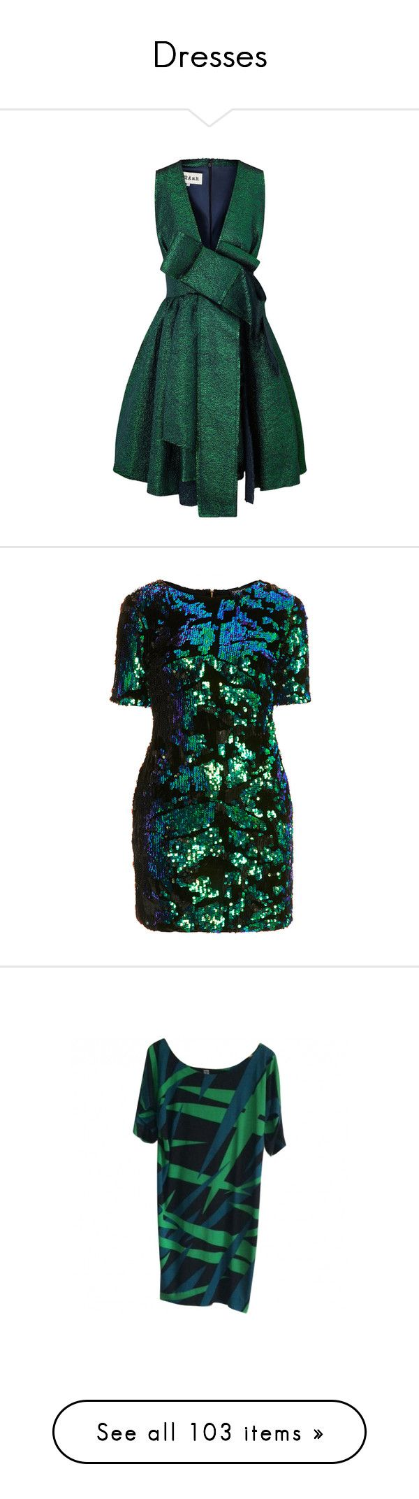 """""""Dresses"""" by kitti-takacs ❤ liked on Polyvore featuring dresses, short dresses, green, green sparkly dress, plunging v neck dress, mini dress, bow dress, topshop, vestidos and multi"""