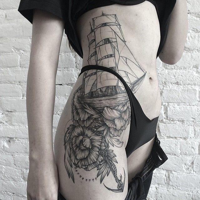 Navio veleiro traçado por Sasha Masiuk.                              …