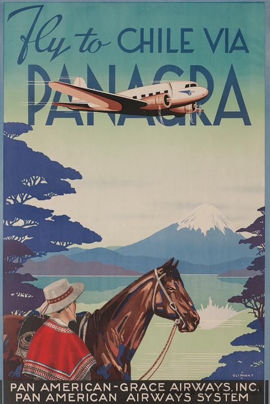 Chile: Vintage travel poster via www.vintageairlineposters.net. Scan old photos, posters, prints with Pic Scanner app for iPad and iPhone