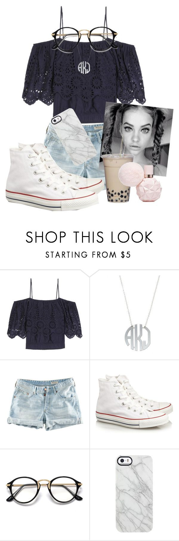 """""""Basketball games today 🏀"""" by maris3456 ❤ liked on Polyvore featuring Ganni, H&M, Converse, Uncommon, basketball, converse, blouse, glasses and arianagrandeperfume"""