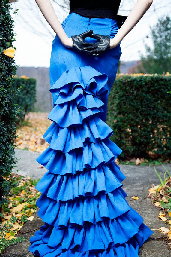 Royal Blue Falda flamenca