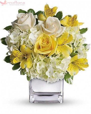 Sunrise bouquet - Buchet din trandafiri, hortensii si alstroemeria