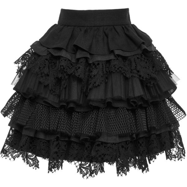 Fausto Puglisi Ruffle Tiered Mini Skirt ($1,935) ❤ liked on Polyvore featuring skirts, mini skirts, black, fausto puglisi, short lace skirt, short mini skirts, short skirts and mini skirt