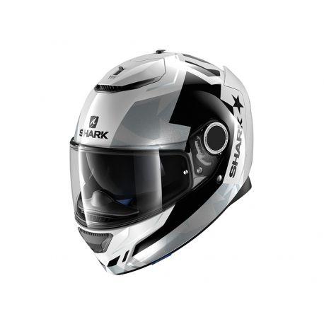 Casco Shark SPARTAN Droze White/Black/Silver HE5038EWKS. Donde comprar casco moto de fibra vidrio Shark SPARTAN Droze Blanco/Negro/Plata con doble alerón