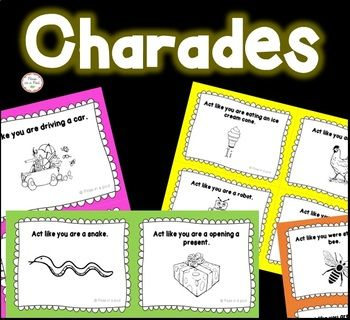 Charades Cards |End of Year Charades | Indoor Recess Activities | Verb Charades