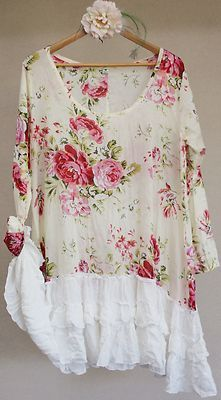 Roses Chic Baby Doll Dress Top Frill Hem Boho Vintage Shabby Prairie: