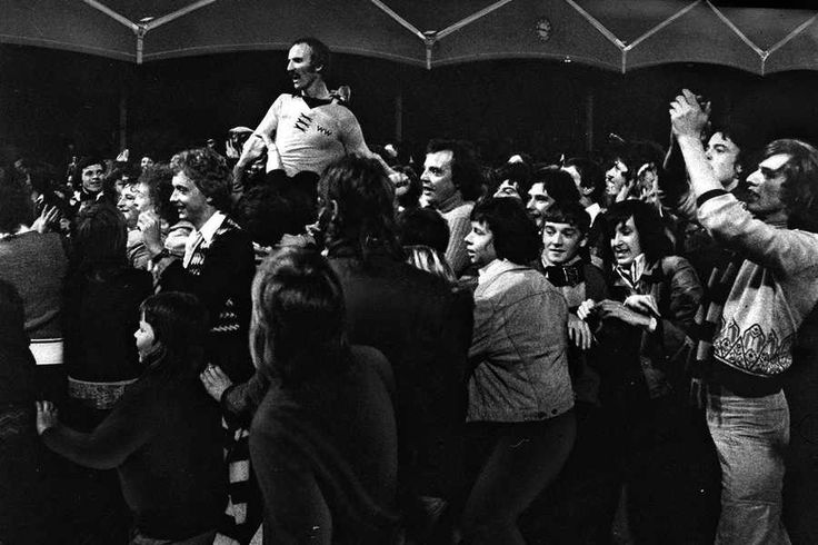 Derek Dougan gets chaired aloft after his Testimonial game in 1975