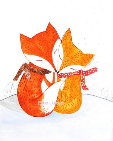 Fox Illustration Winter Art print from Original painting, Card for holidays, Wall Art, Mama Fox Baby fox.