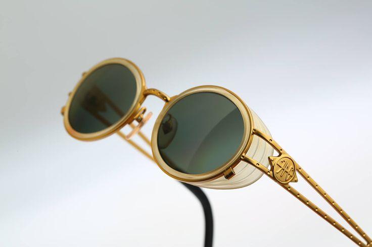 Jean Paul Gaultier 58-6202 / 90s Vintage sunglasses / NOS / Side shields steampunk round eyewear by CarettaVintage on Etsy