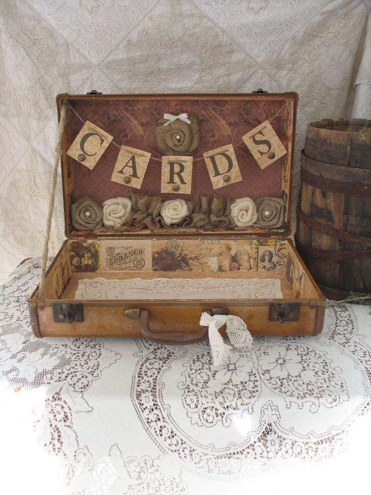 Vintage Suitcase Wedding Card Holder Shabby Chic Wedding Rustic Country Wedding. $120.00, via Etsy.