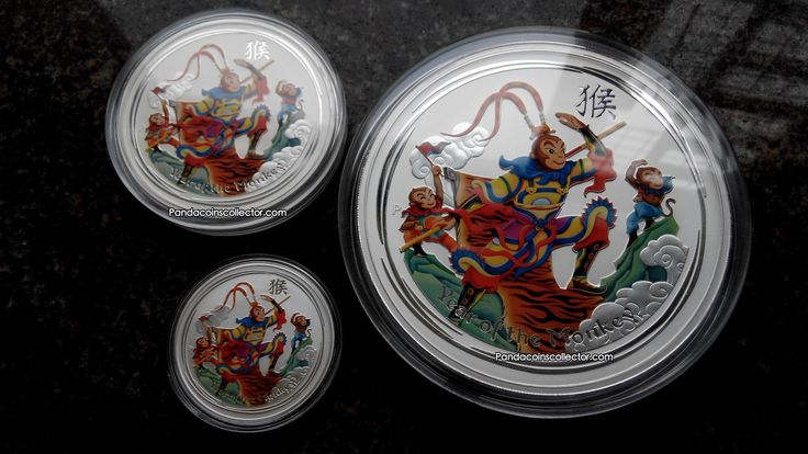 2016 AUSTRALIAN LUNAR SERIES YEAR OF THE MONKEY - MONKEY KING COLORIZED BU SILVER 1OZ, 5OZ & 1KILO