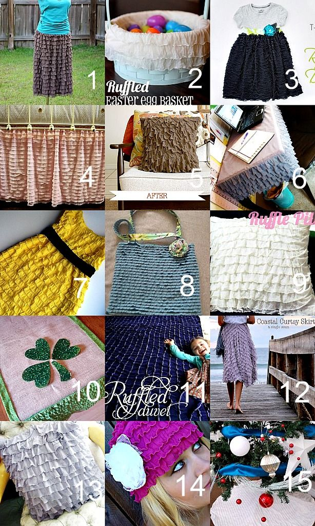15 Ruffled Fabric Tutorials - I saw this fabric at Hobby Lobby yesterday and about died.  Absolutely beautiful.