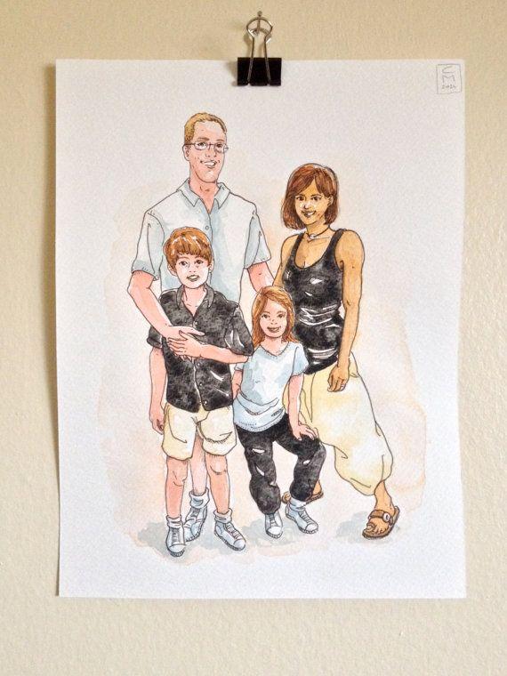 Custom Family portrait illustration watercolor by LaCatrinaArt