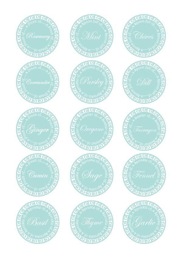 Kitchen herb jar printable labels: Color