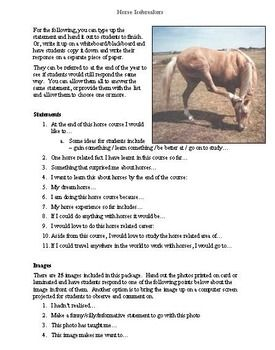 Horse Icebreakers Activity by Christine Meunier of Equus Education