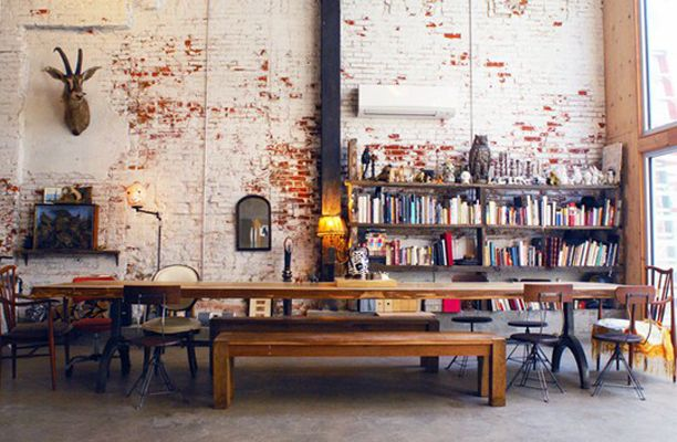 ..: Dining Rooms, Living Rooms, Brick Wall, Deer Head, Book, Exposed Brick, Expo Brick, Long Tables, Dining Tables