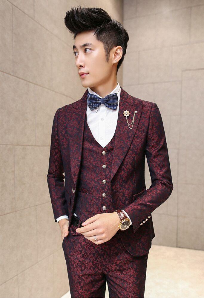 Latest Coat Pant Design Burgundy Pattern Wedding Suits For Men Prom Jacket Skinny 3 Piece Groom Style Tuxedo Custom Blazer Terno